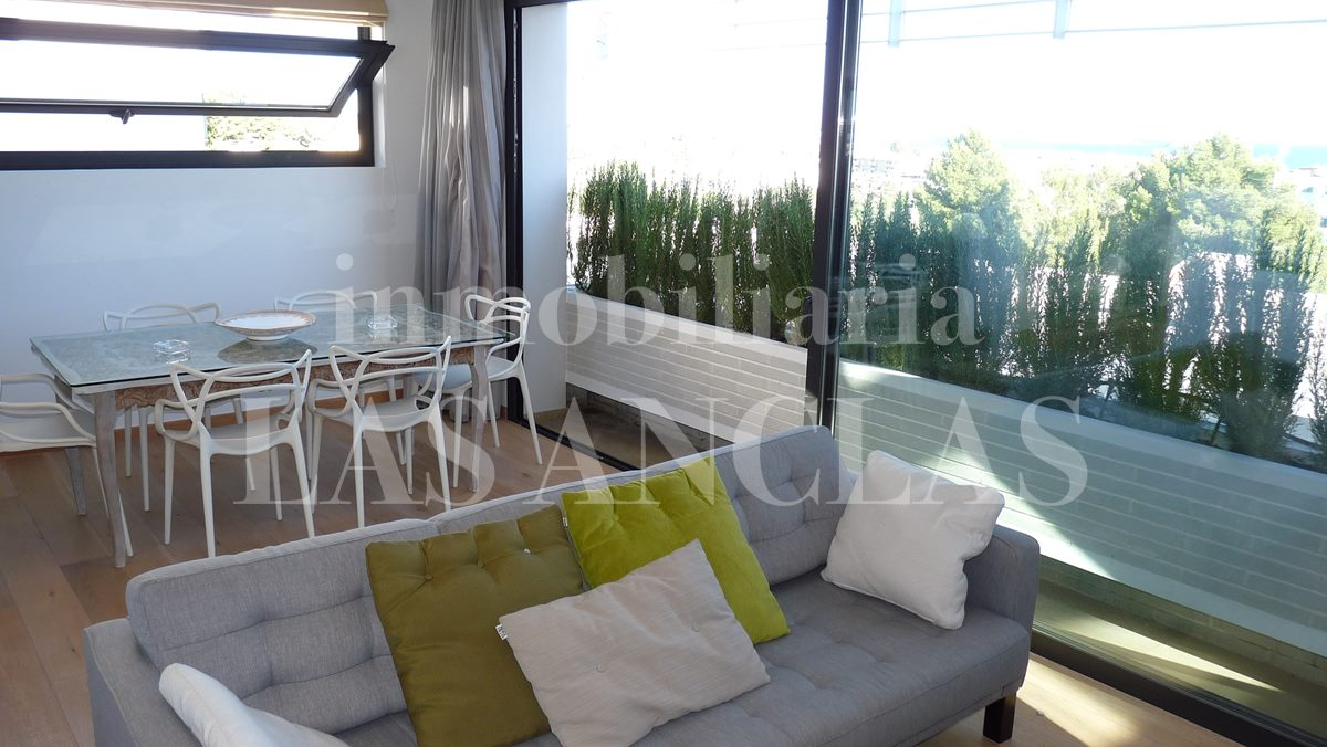 living/dining room with views of Santa Eulalia and the sea - villa in Santa Eulalia Ibiza for sale