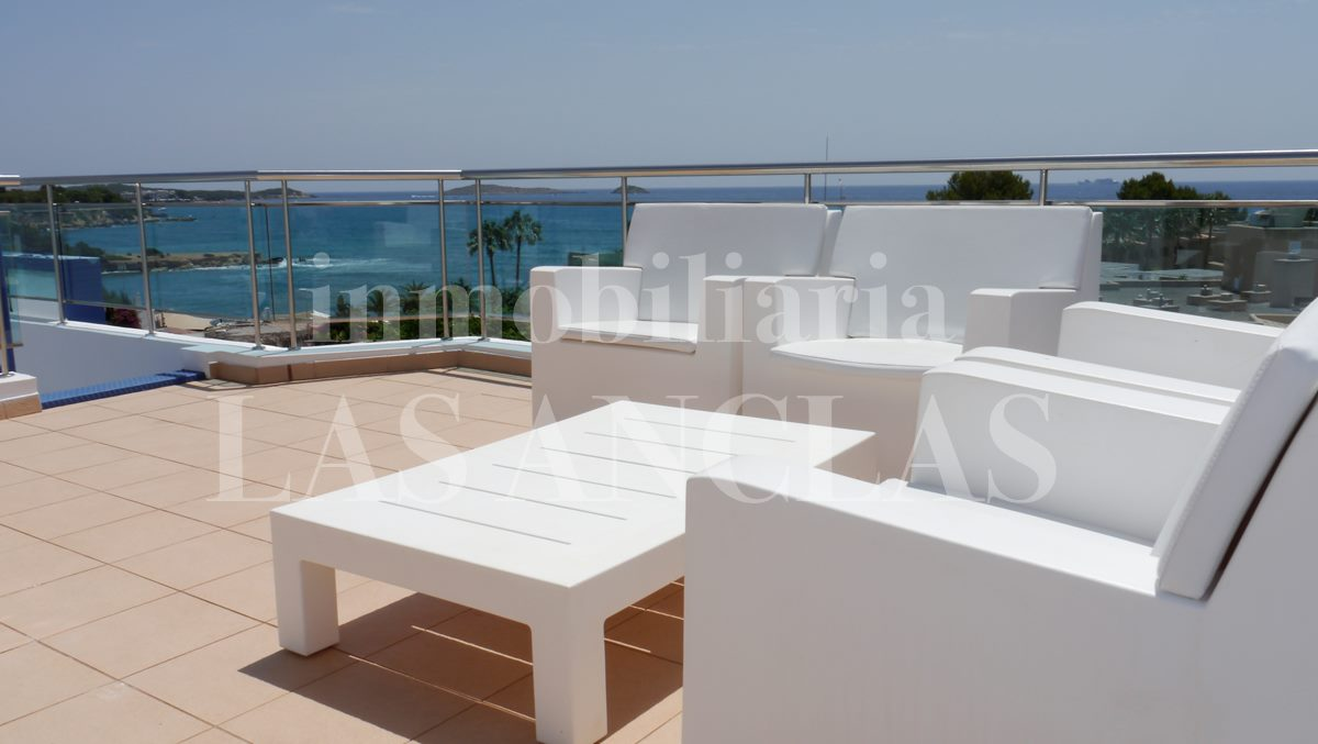 Roof terrace with fantastic view to the coast and to the sea - penthouse flat in Santa Eulalia Ibiza for sale