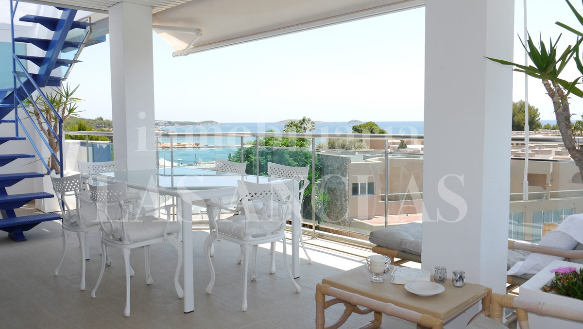 Covered terrace with marvellous sea views and access to roof terrace - penthouse flat in Santa Eulalia Ibiza for sale