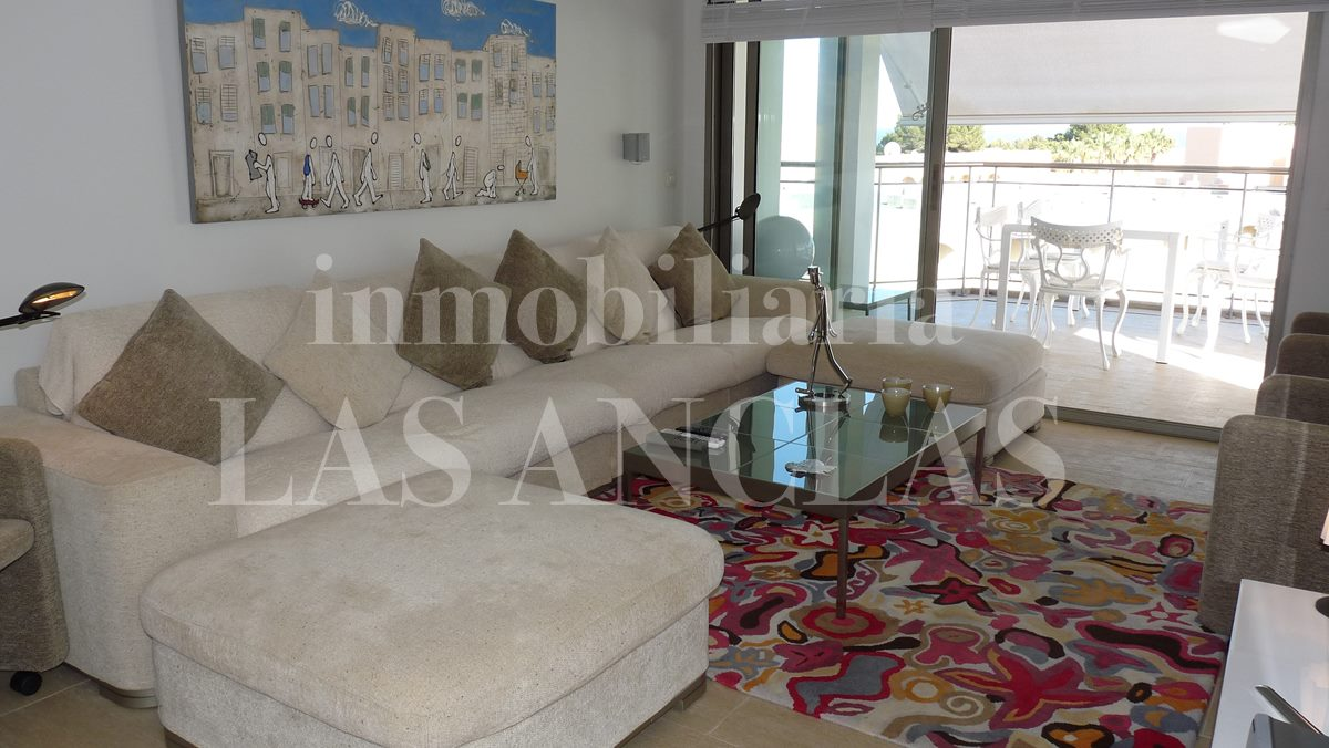 Bright living room with sea views - penthouse flat in Santa Eulalia Ibiza for sale