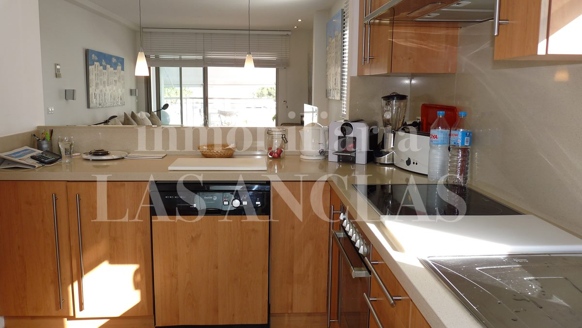 Fully fitted kitchen with utility room - penthouse flat in Santa Eulalia Ibiza for sale