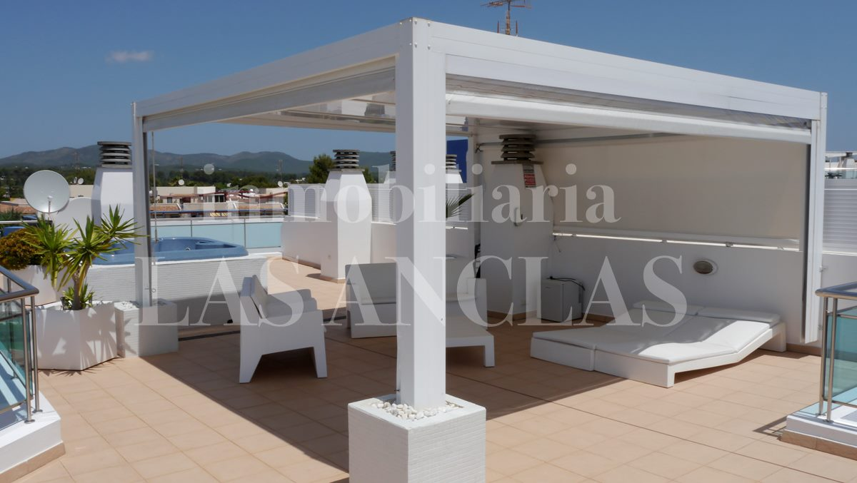 Private roof terrace with jacuzzi and covered chill out - penthouse flat in Santa Eulalia Ibiza for sale