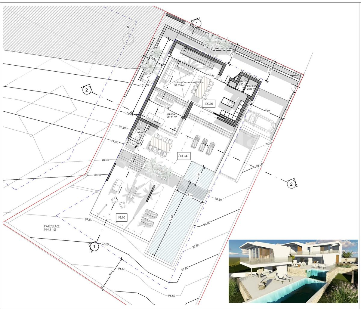 Ibiza Jesús - Plot of land with sea views and project to build a modern luxury villa for sale