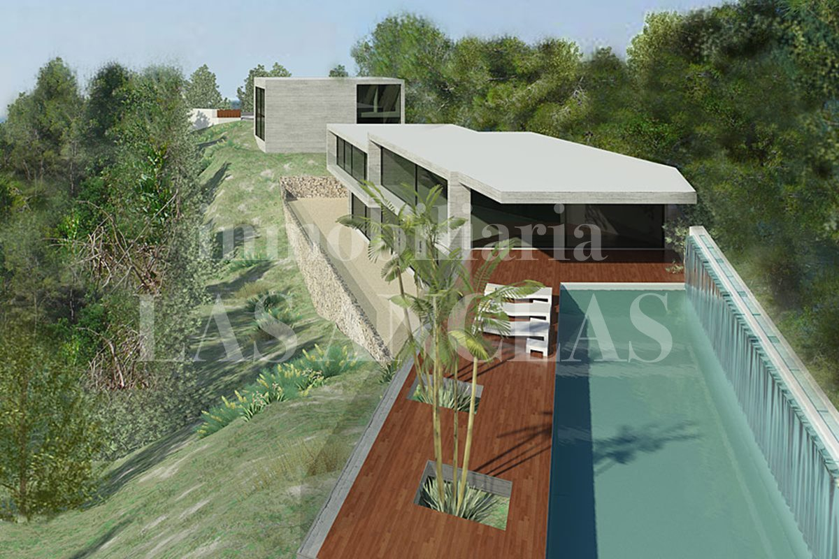 Ibiza Jesús - Plot of land with sea views and project for a minimalist luxury villa for sale