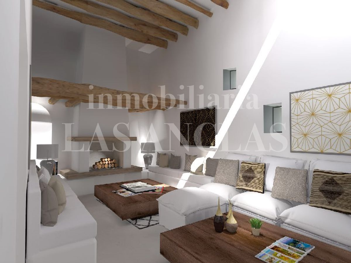 Project with a modern and cosy  living room with history - farmhouse/finca in Santa Eulalia Ibiza for sale