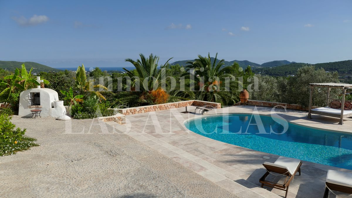 Large and beautiful pool terrace - authentic finca mansion in San Lorenzo Ibiza for sale