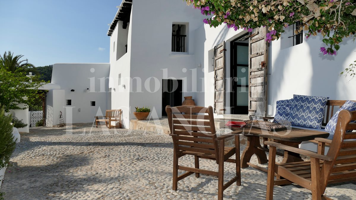 One of several marvellous terraces - authentic finca mansion in San Lorenzo Ibiza for sale