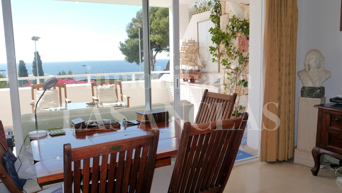 Views from the dining area as far as Ibizas neighbouring island Formentera - flat / apartment near golf course Ibiza for sale