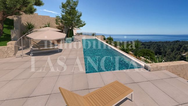 Ibiza San José - Luxurious villa on ground level with large garage and panoramic sea views to buy